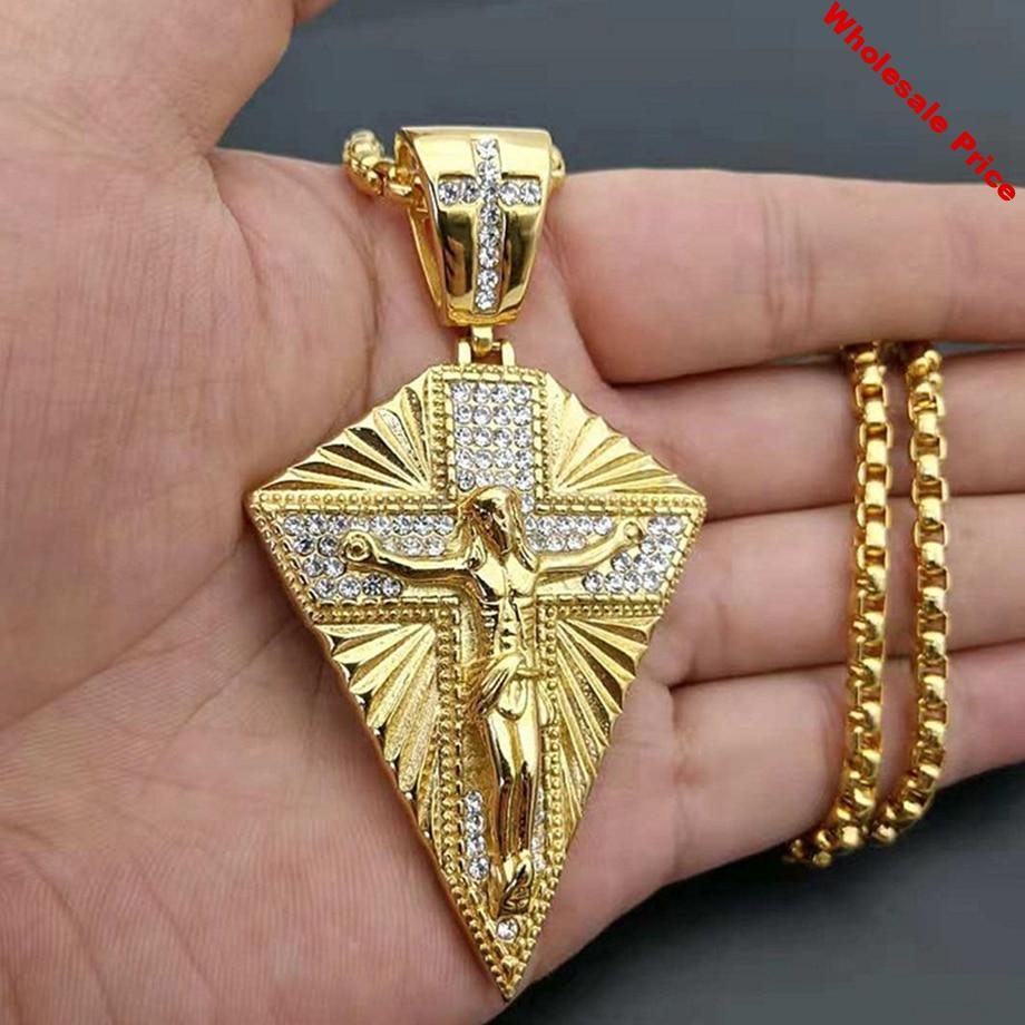 Men's Necklace Big Jesus Cross Pendant & Chain Mens Gold Color Stainless Steel Crucifix Necklaces Man Iced Out Bling Jewelry