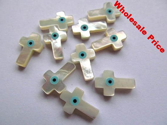 Shell clover 25pcs High Quality MOP Shell mother of pearl Clover Bird cross hamsa Round Coin Turquoise blue evil eyes White bead