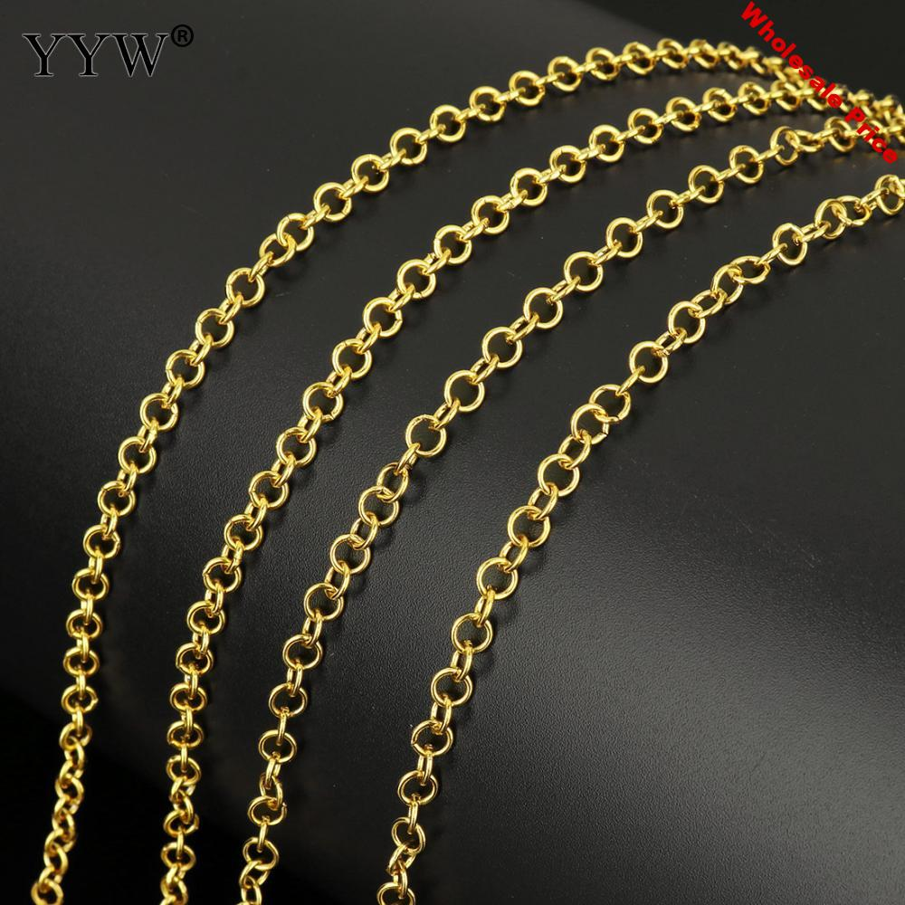 10m/Spool 4x0.8mm 4x0.7mm Gold Color Plated Stainless Steel Rolo Chain For DIY Necklace Basic Chain Link Jewelry Findings