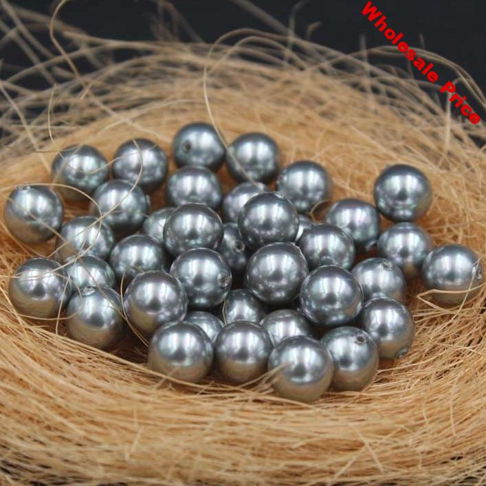 Grey Color Nice Quality South Sea Oyster Shell Pearls Half Drilled Loose Pearls