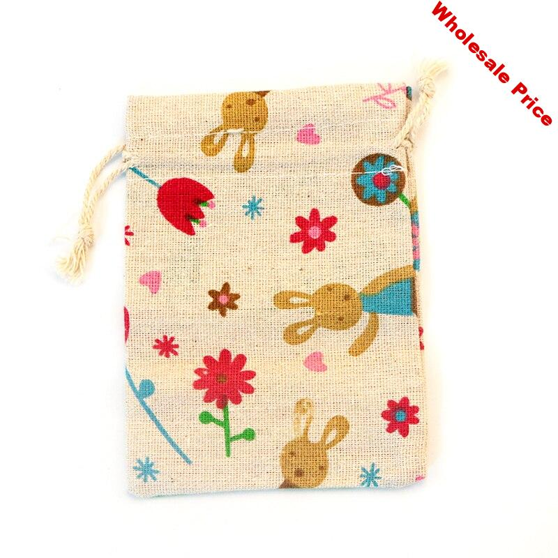 """50pcs/lot 10x14cm (3.9""""x5.5"""") Red Flowers Linen Cotton Bags Bracelets Jewelry Packaging Bags Cute Christmas Jewelry Pouches"""