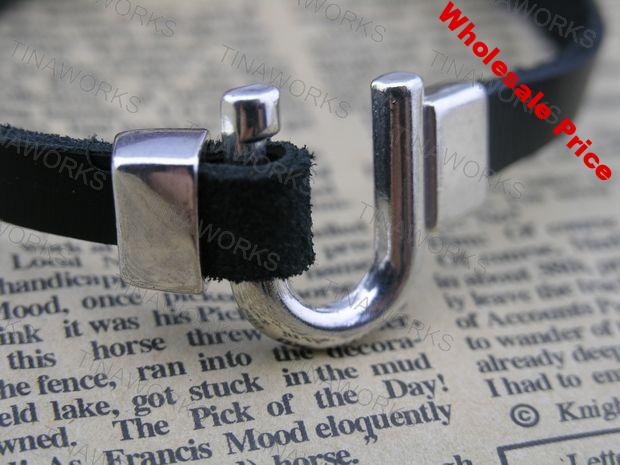 15pcs 10.5x2.3mm Antique Silver Clasp For Various Leather 2.0mm 5.0mm/10.0mm--CLP1080