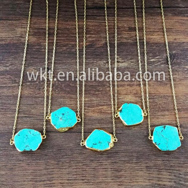 WT-N125 Wholesale  natural green howlite necklace with 24k gold strim connector necklace fashion necklace jewelry