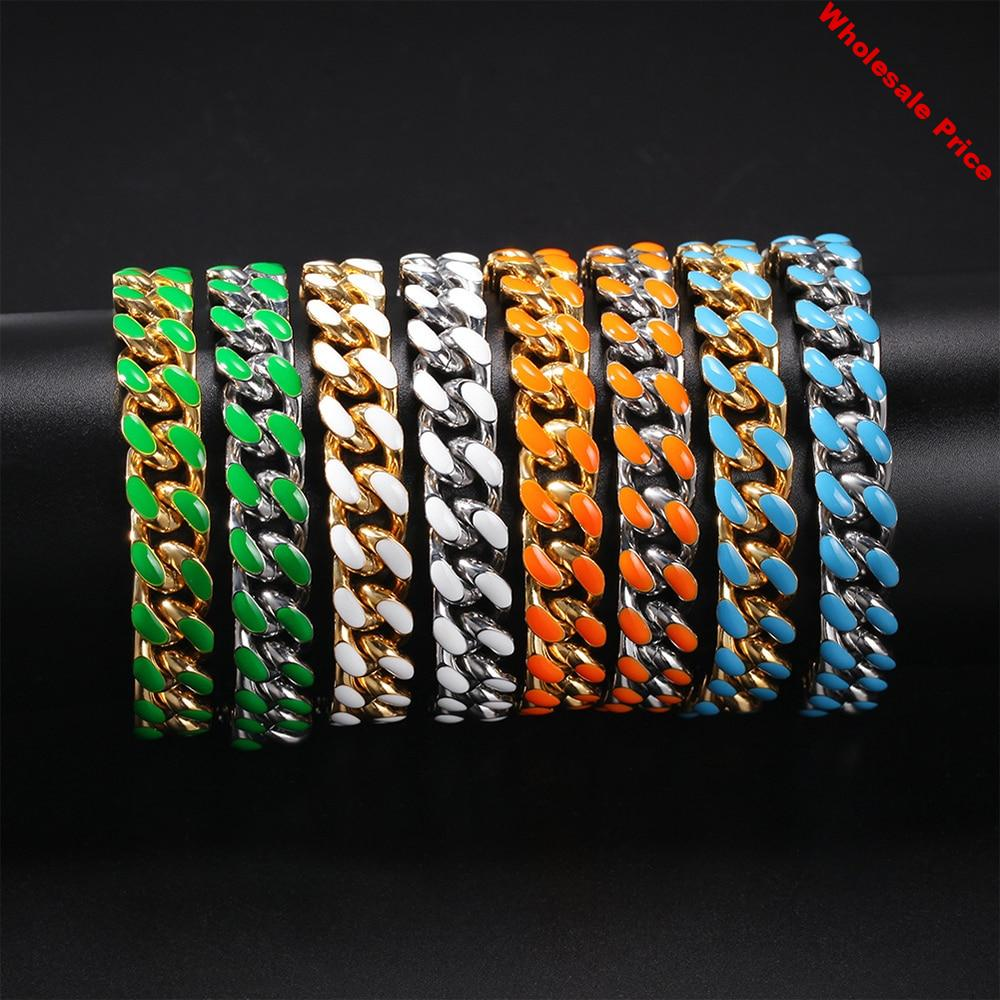 11mm Miami Cuba Chain Bracelet Stainless Steel 316L Colorful Hip Hop Gold Fashion Party Jewelry for Mens Women 7inch 8inch