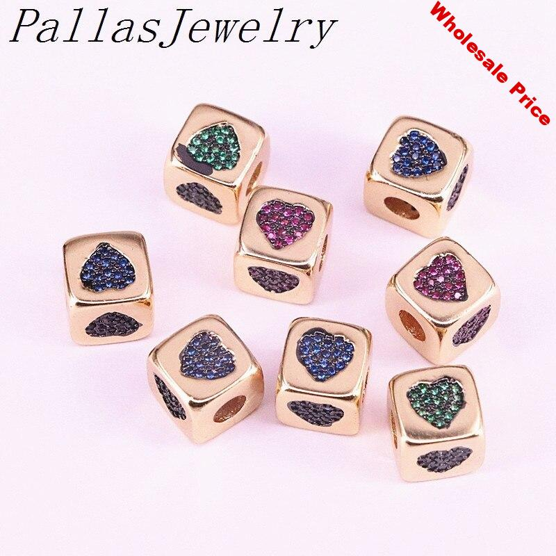 Wholesale 10Pcs Colorful CZ Micro Pave Cute Square Heart Spacer Gold Filled Big Hole Beads for jewelry Making Findings