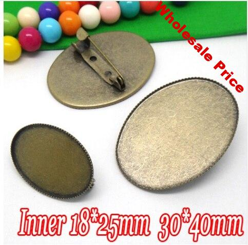 100pcs Wholesale ANTIQUE BRONZE 18*25/30*40mm Cabochon Cameo Setting Disc Brooch Blank with Back Safety Pin DIY Jewelry Findings