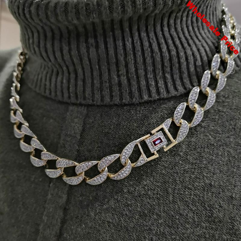 """Custom Necklace Mens Golden Finish Full Iced Out Hip Hop CZ 16"""" 18"""" 20"""" 22"""" 24"""" Miami Cuban Chain Necklace Drop Shipping"""