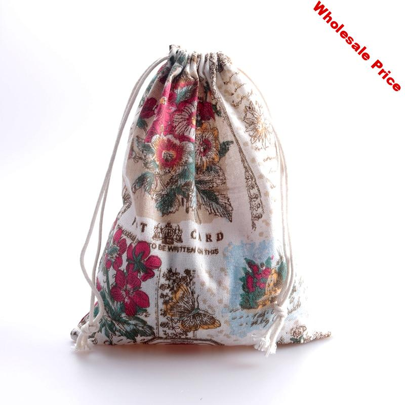 20pcs/lot Linen Cotton Bag 19x24cm Party Wedding Favor Holder Boutique Cosmetics Muslin Jewelry Packaging Bag Gift Pouches