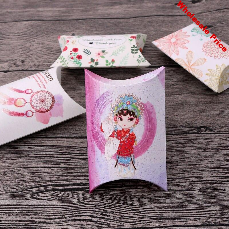 6.5*9*2.5cm 50pcs Favor candy Box bag New craft paper Pillow Shape Wedding jewelry Gift Boxes pie Party Box bags eco friendly