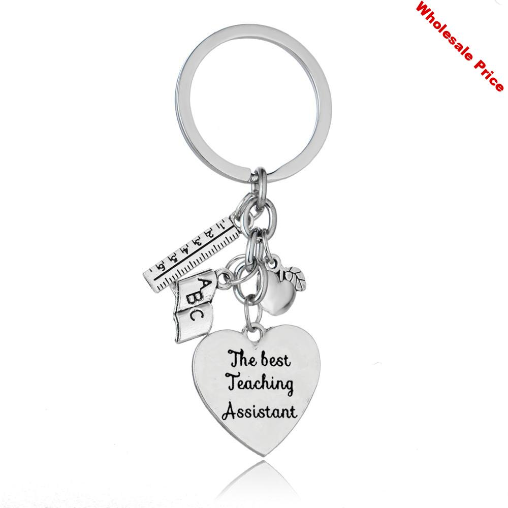 12PC Ruler ABC Book Apple Pendant Keychains The Best Teaching Assistant Keyrings Thank You Teachers Jewelry Graduation Gifts Hot