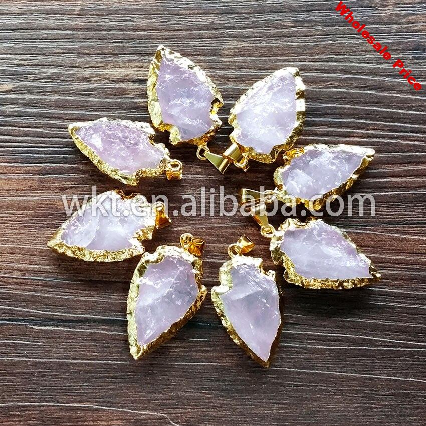 WT-P477 Wholesale Hand carved pink quartz arrowhead pendants with 24k gold dipped resist tarnishable