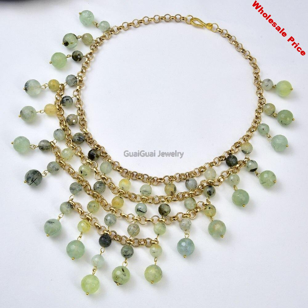 """GG Jewelry 19"""" Natural Green Prehnite Gems stone Gold Plated Chain Necklace"""