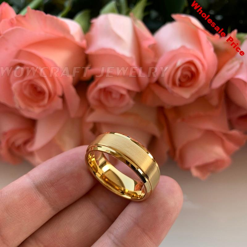 8mm Gold Tungsten Wedding Band Rings for Men Matte Brushed High Tungsten Gold Comfort Fit