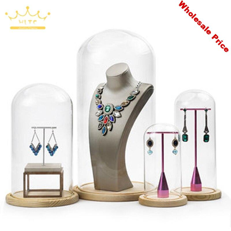 Jewelry Prop Window Display Rack Decoration Transparent Dust-proof Glass Cover Solid Wood Base Jewelry Shop Dedicated