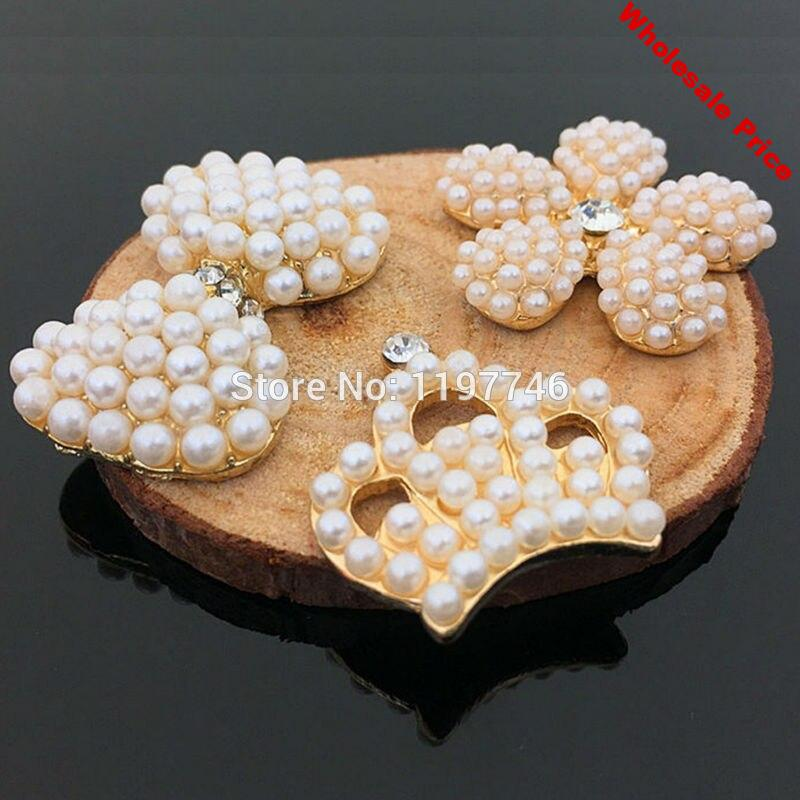 Pearls Decorations for Jewelry making Flower Button Decorations Bow Decorations for Embellishment 10pcs Crown Decorations