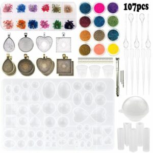107pcs Silicone Resin Jewelry Casting Mold DIY Pendant Tools Set Beginners Kit DIY Accessories Necklace Bracelet Jewelry Making