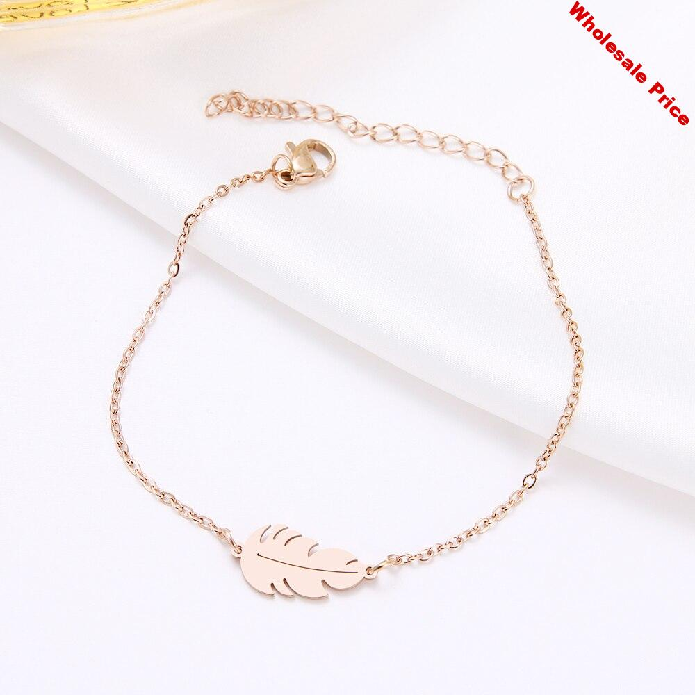 V-252 Stainless Steel Bracelet For Women Feather Man Gold And Rose Gold Color Pulseira Feminina Lover's Engagement Jewelry