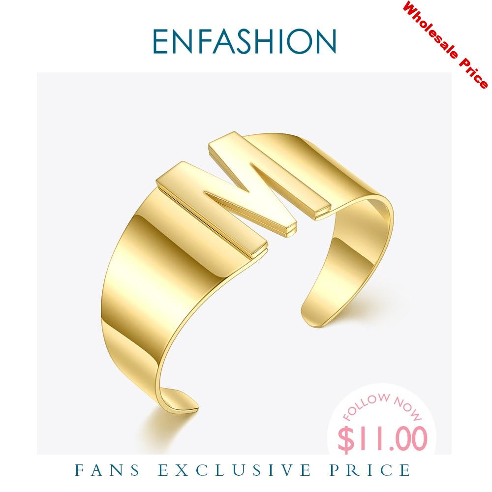 ENFASHION Initial Letter Bangles For Women Hollow Alphabet Open Bracelets Stainless Steel Gold Color Fashion Jewelry Gifts B2163