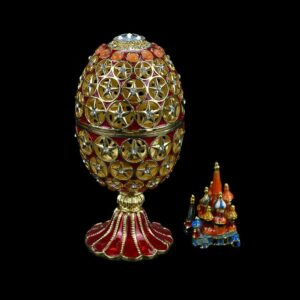 QIFU Metal Craft Beautiful Hollow Out Faberge Egg for Home Decor