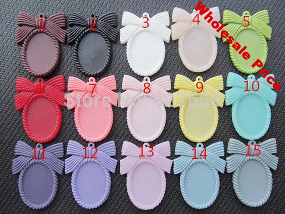 100pcs 15 Colors Oval Flatback Resin Bowknot/Bow tie Frame Charm