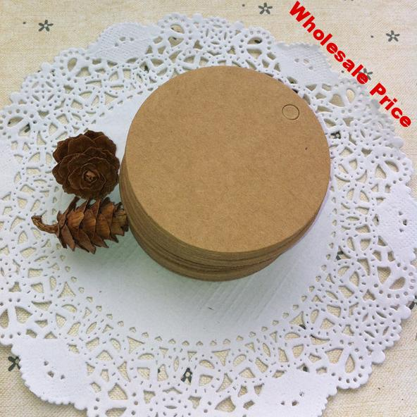 4 cm Top quality blank round kraft paper label tags jewelry price tags blank card tags with Hemp rope 500 pcs/lot