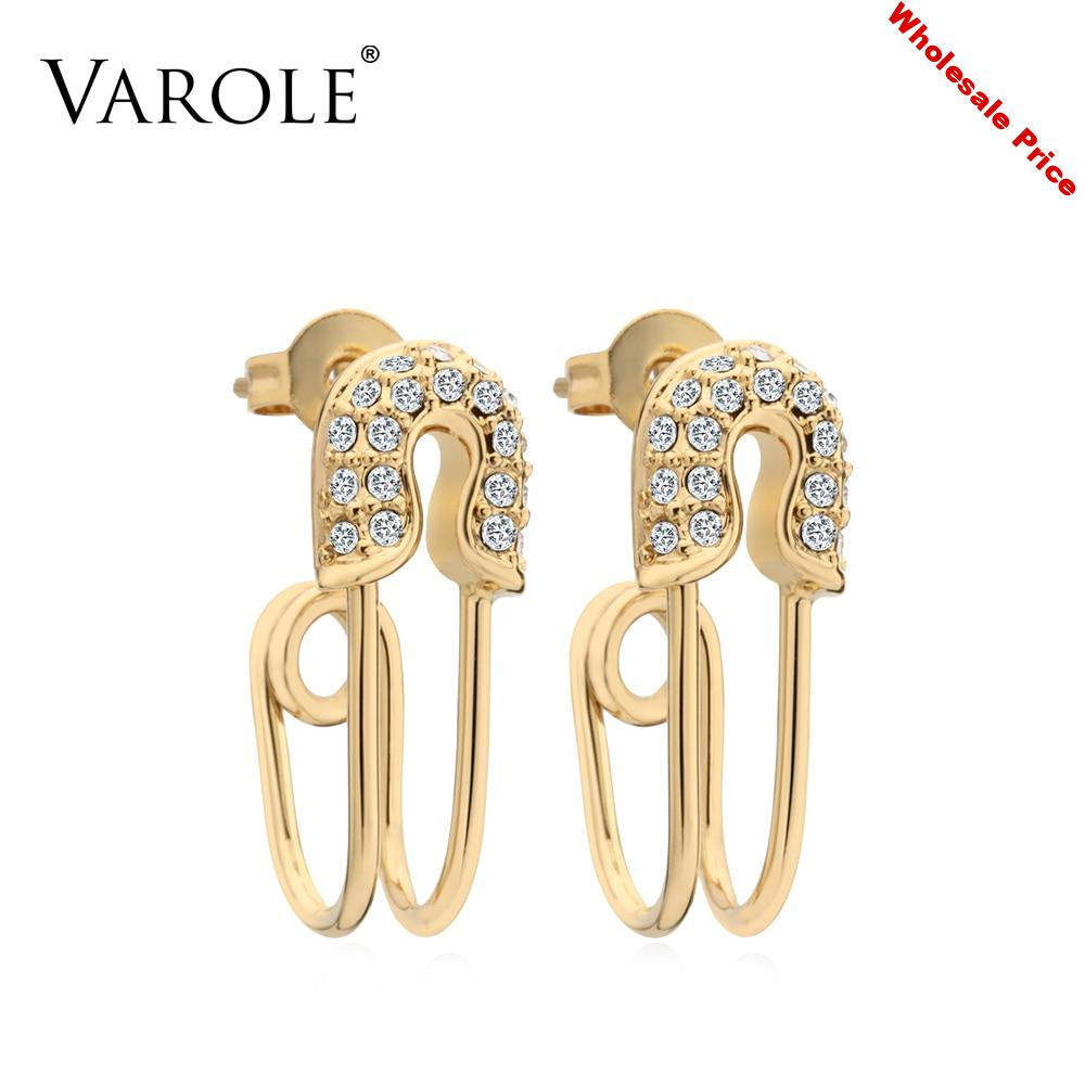 VAROLE Curved Safety Pin Earrings Shining Crystal Dangle Earings Gold color Earrings For Women Jewelry Oorbellen Brincos