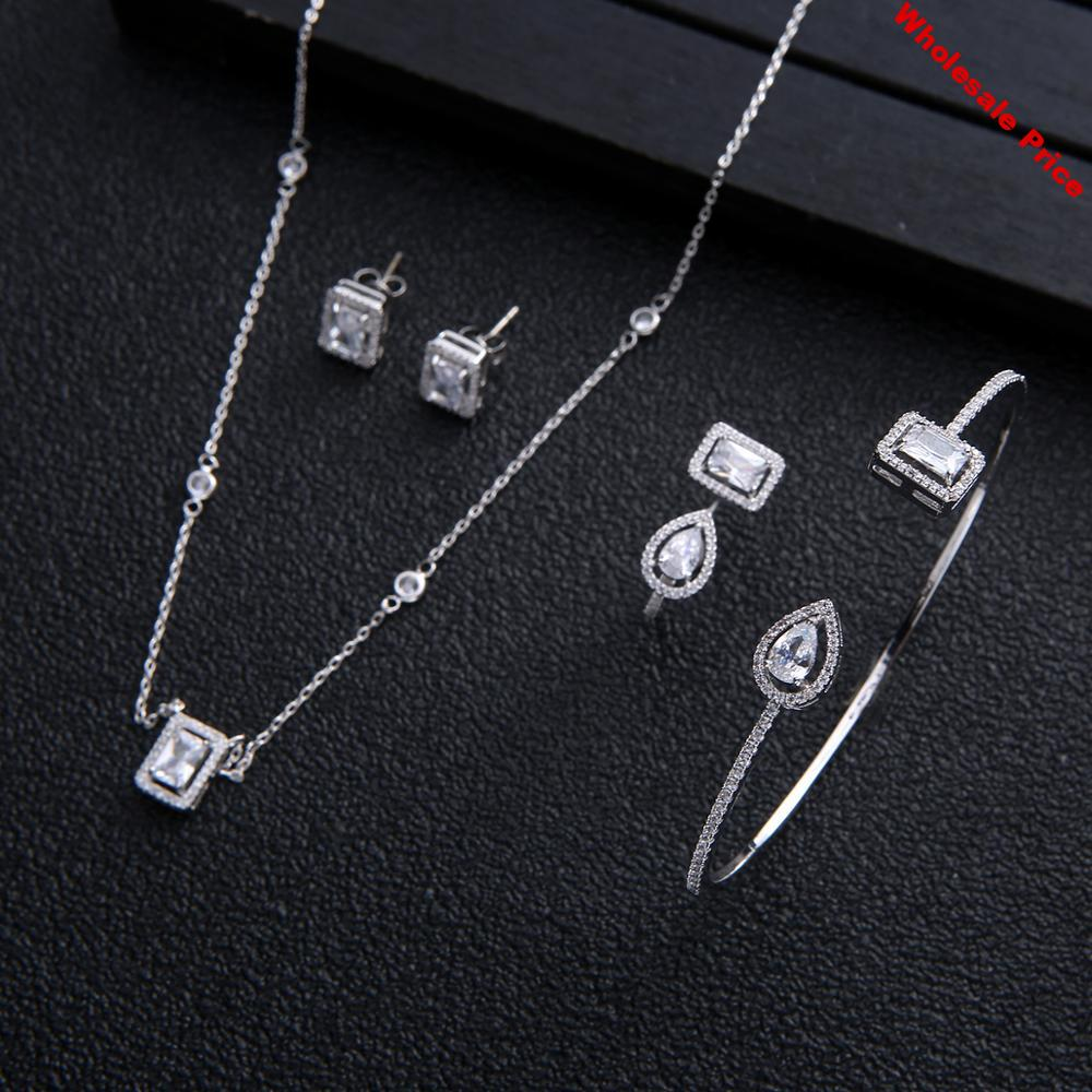 Wedding Square Necklace Earrings bangle ring sets For Women  Full Cubic Zirconia Bridal Jewelry Sets pendientes mujer moda
