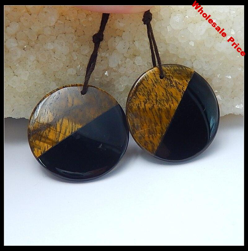 Natural Stone Earrings Obsidian And Tiger Eye Round Earring For Women Beautiful Jewelry Accessories 30x5mm 12.5g