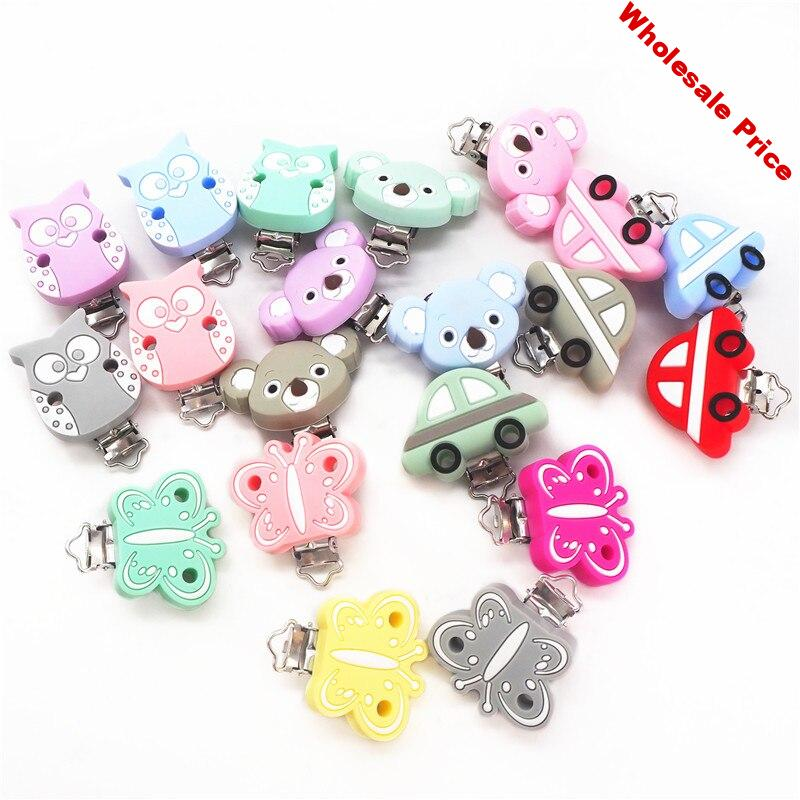 Chengkai 10pcs Silicone Butterfly Clips Baby Animal Teether Pacifier BPA Free DIY Infant dummy Pendant Toy Owl Koala Car Clip