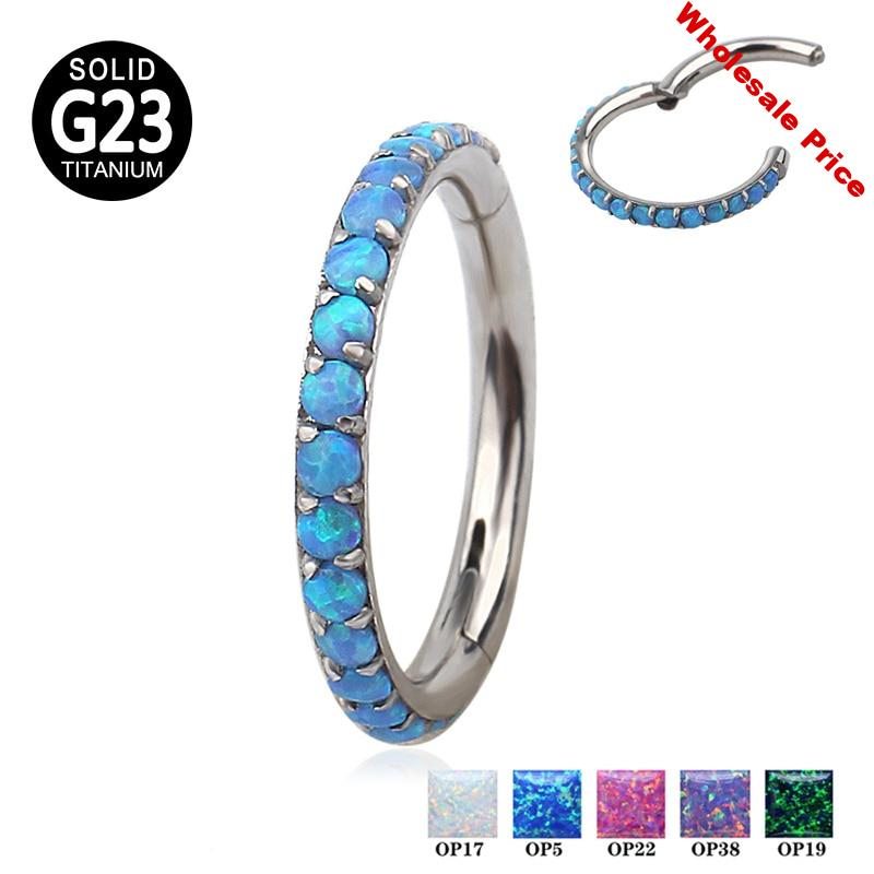 G23 Titanium Hinged Segment Clicker Hoop Nose Ring Opal Stone Ear Cartilage Tragus Helix Lip Piercing Body Jewelry Wholesale