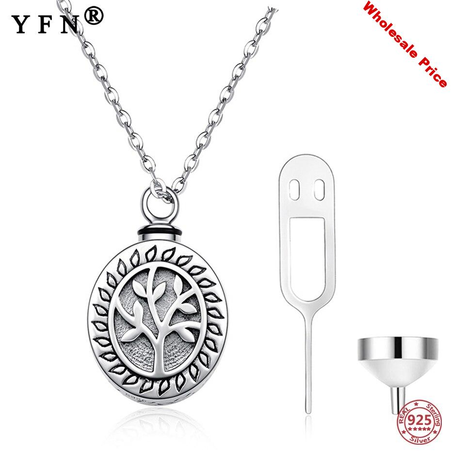 YFN 925 Sterling Silver URN Necklace for Ashes Life of Tree Memorial Urn Necklace For Memory Pendant Necklace Silver 925 Jewelry