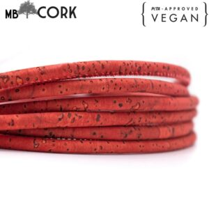 10 meters Dark Orange Cork 5mm round cork cord Portuguese cork jewelry supplies /Findings cord vegan material Cor-339