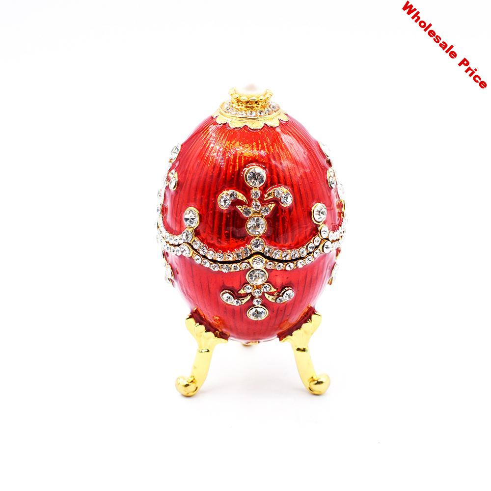 Green Faberge-Egg Hand Painted Jewelry Trinket Box Gift for Easter Home Decor