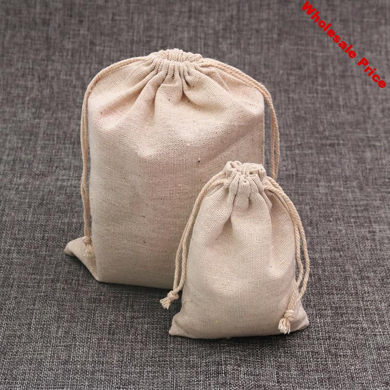 Wholesale 50pcs/lot Natural Color Cotton Bags 10x14cm Small Wedding Linen Gift Bag Cute Charms Jewelry Packaging Bags Pouches