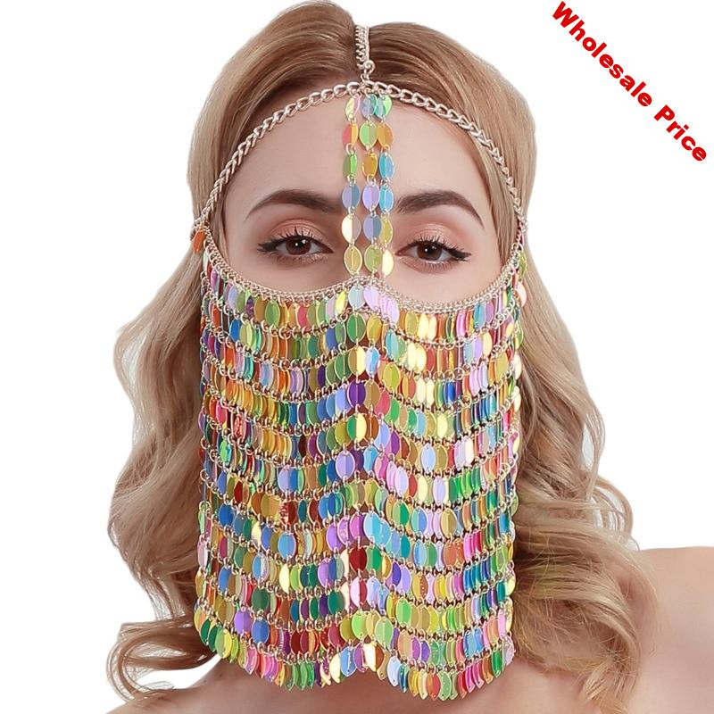 2020 Spring Hot Sale New Design Metal Mask Women Sexy Alloy Sequin Tassels Jewelry Masks Party Mask Female ZK864