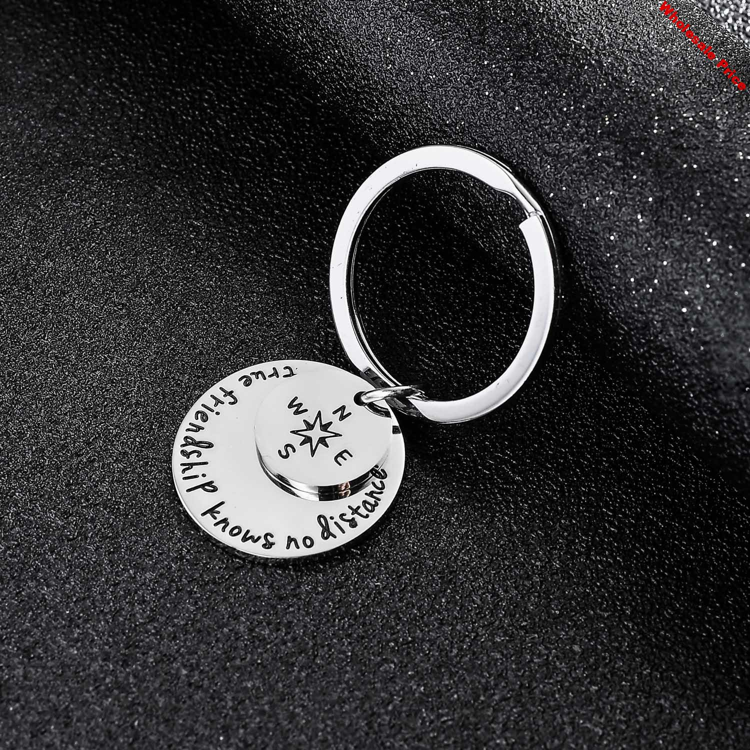 12PC Wholesale Compass True Friendship Knows No Distance Keyrings Stainless Steel Charm Pendant Keychains Best Friends BFF Gifts
