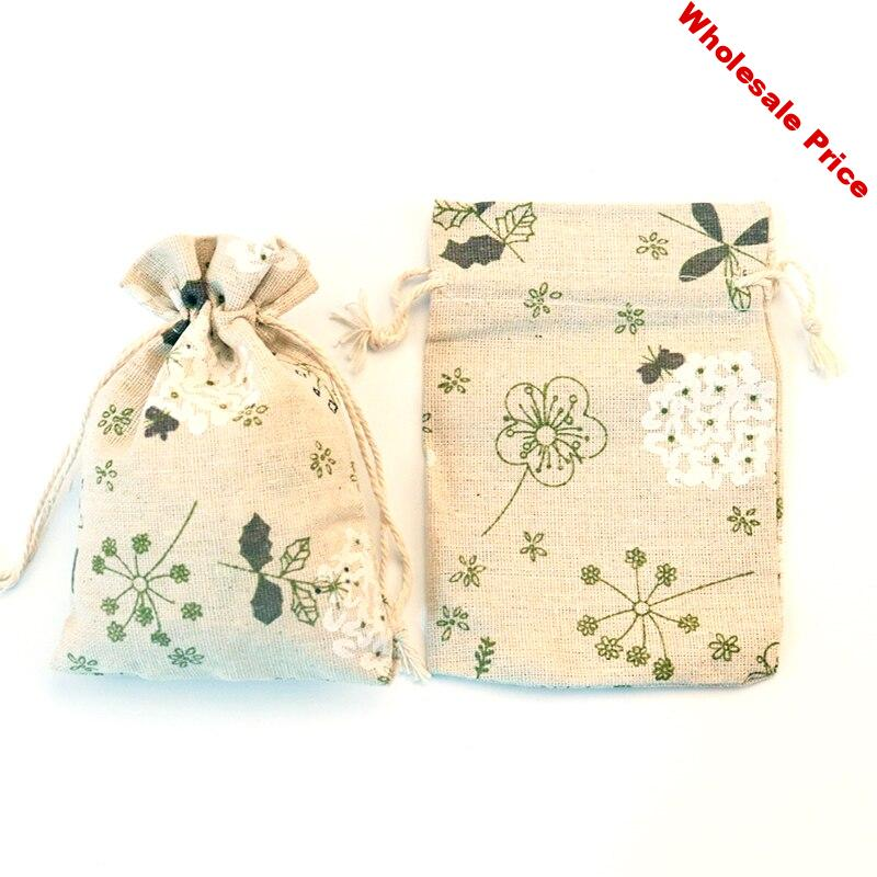 Wholesale 50pcs/lot Green Flowers Cotton Bags 10x14cm Small Wedding Linen Gift Bag Cute Charms Jewelry Packaging Bag Pouches