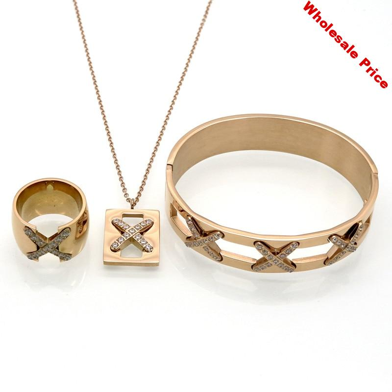 YS-6 New Arrival Luxurious X Cross Crystal Bracelet Necklace Ring Sets Bridal Wedding Party Fine Jewelry Set Pendientes