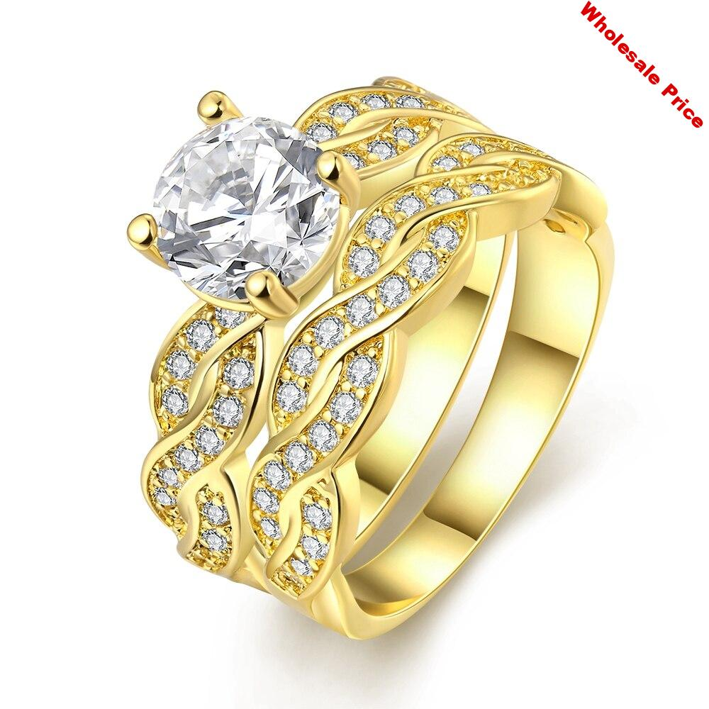VC98 925 Sterling Silver Romantic Zirconia stone Ring  for women Engagement wedding  Jewelry