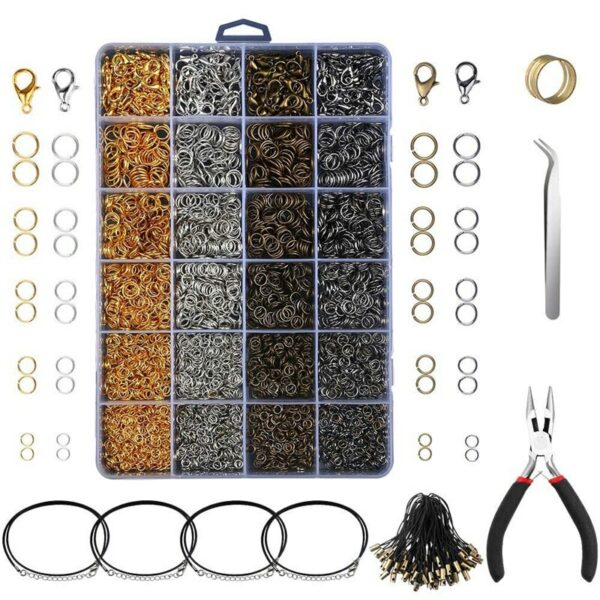 3143Pcs Jewelry Findings Jewelry Making Starter Kit With Open Jump Rings Lobster Clasps
