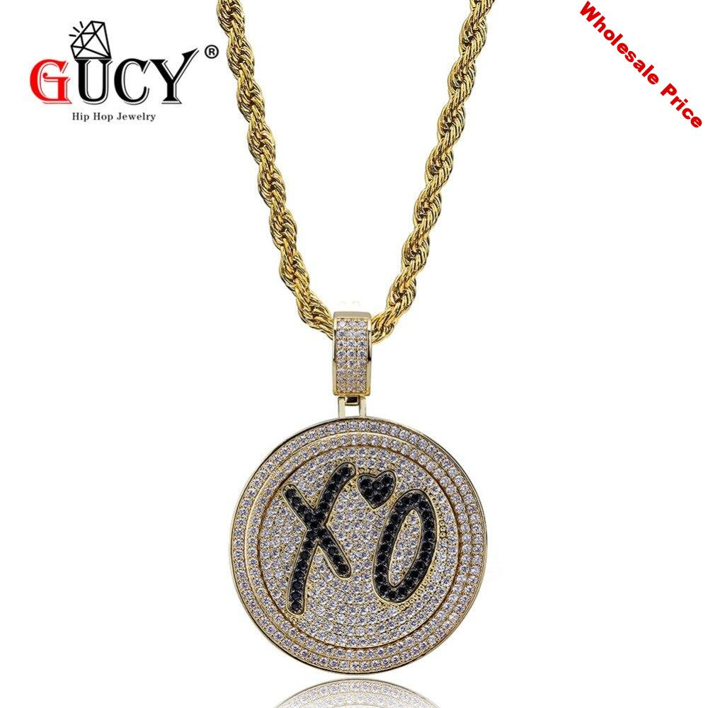 GUCY Hip Hop Jewelry XO Spinner Pendant Necklace Micro Pave Cubic Zircon Stainless Steel Chain Iced Out Rotatable Pendants Gift