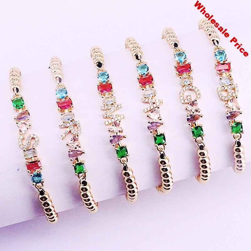 10Pcs Micro pave cz Cubic Zirconia Letters A To Z Charm Braided rope adjusted Copper Beads Bracelet Women Jewelry