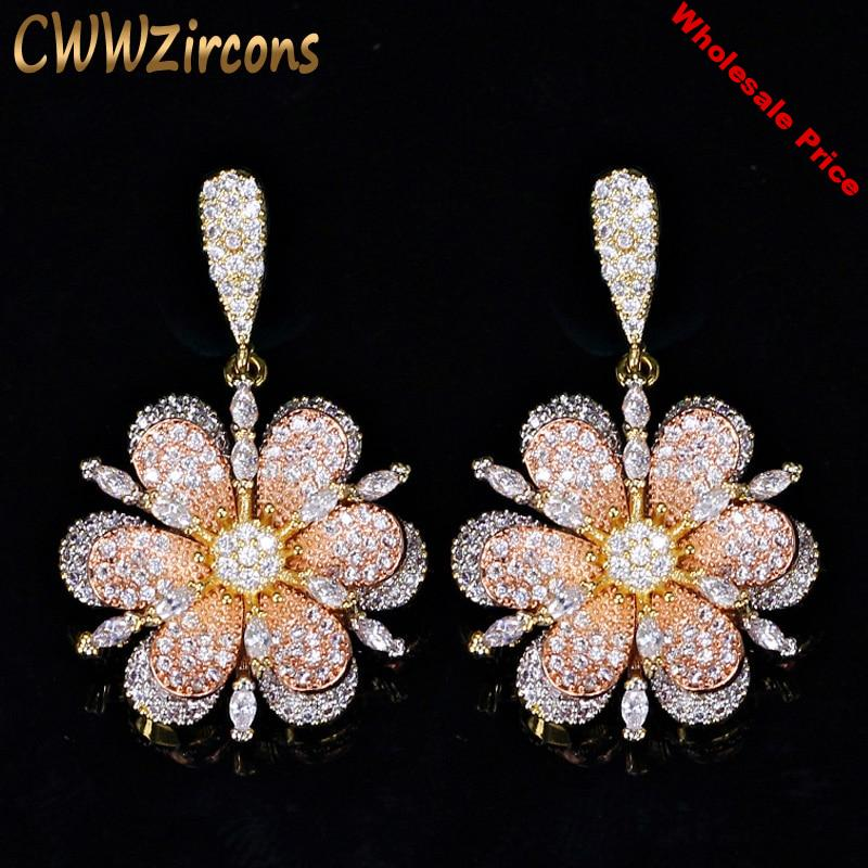 CWWZircons 3 Tones Rose And Yellow Gold Color Jewelry Fashion Micro Pave Cubic Zirconia Flower Drop Earrings for Women CZ356
