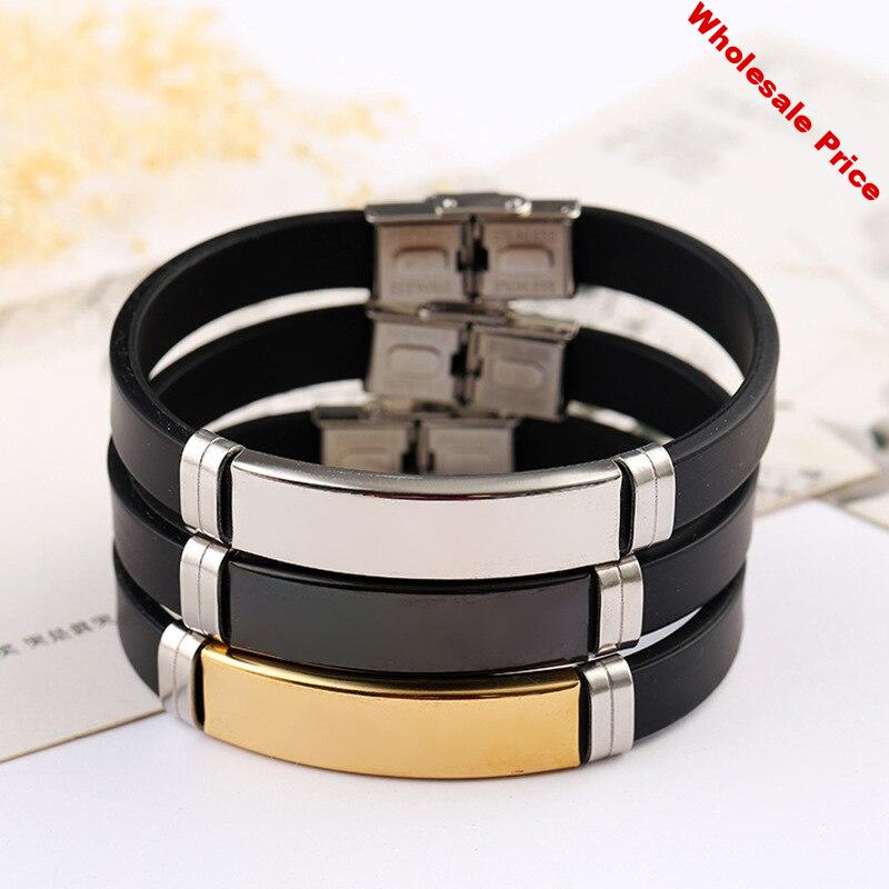 Stainless Steel Blank ID Tags Silicone Bangle For Engrave Silver Color/Golden/Black Metal Plate Bracelet Wholesale 10pcs