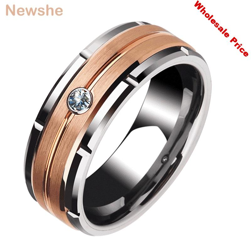 Newshe Men's Charm Wedding Band 8mm Tungsten Carbide Promise Rings For Men Brown Color White Zircon Jewelry TRX051 Size 9-12
