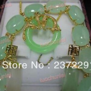 Wholesale price FREE SHIPPING ^^^^Charming Set Jewelry Green stone Daragon pendants Necklace Bracelet earring
