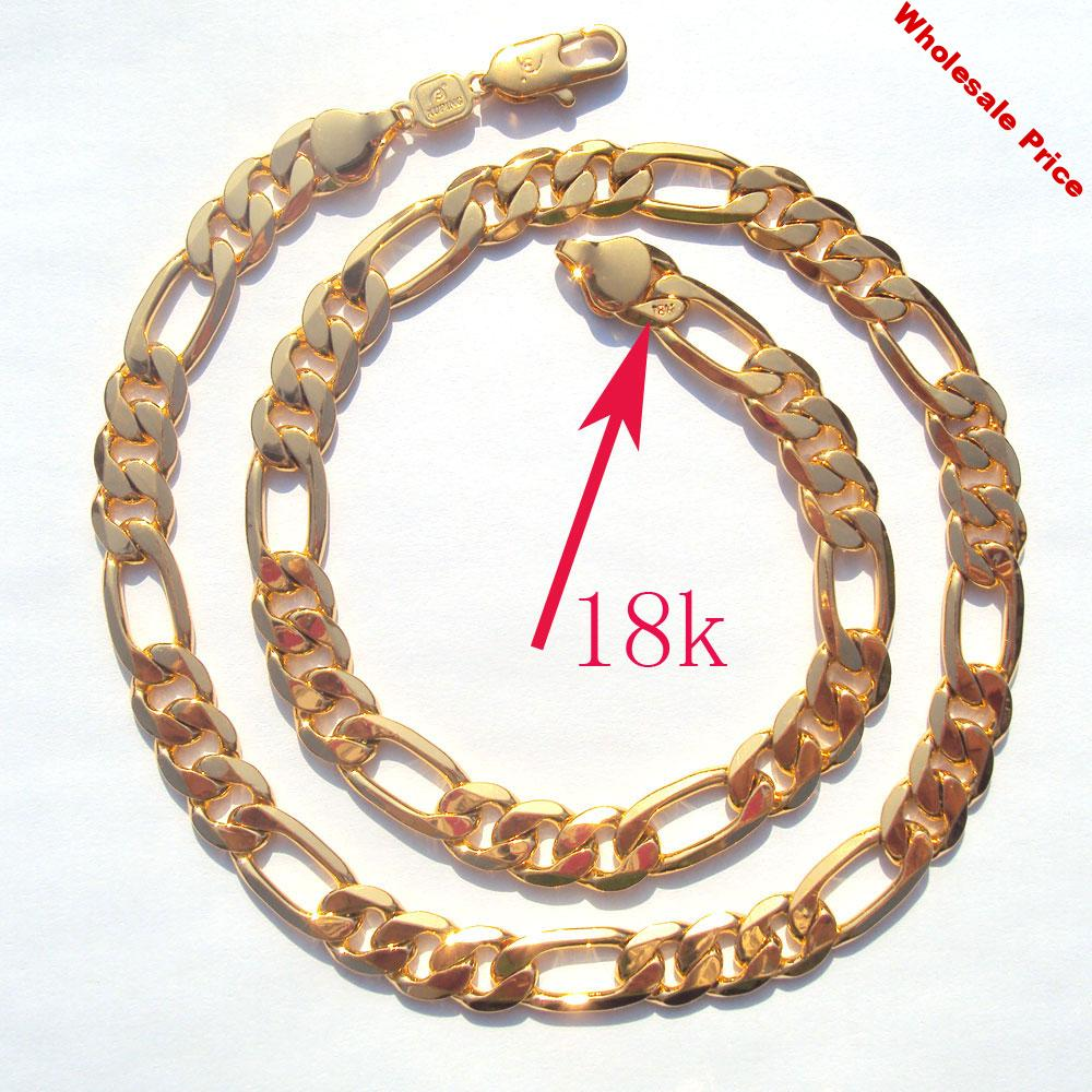 18 k Solid Gold Filled AUTHENTIC FINISH 18 k stamped 10mm fine Figaro Chain necklace Made In Best