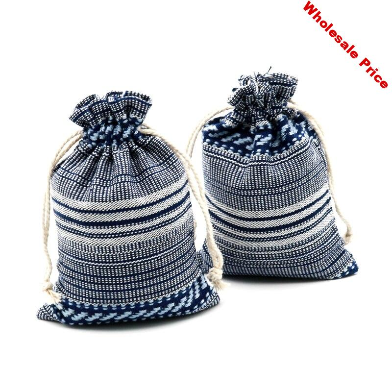 Wholesale 50pcs Dark Blue Strings Cotton Bags Drawstrings Jewelry Pouches Strings Bags 10x14cm for Gift Jewelry Packing Pouch