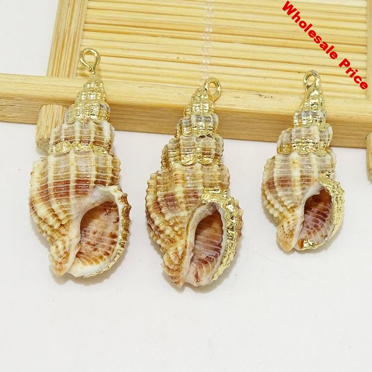 New 10pcs Elegant White Shell Pendants With Virgin  Conch Shell  Shape Metal Plated Female Jewelry