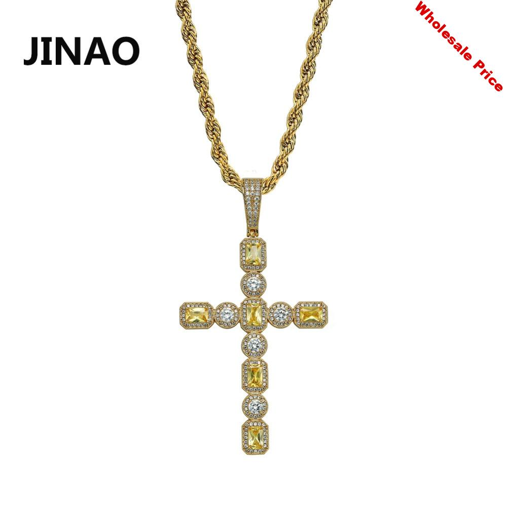 JINAO iced Out Colorful Prong Set Cross Pendant Necklace With Tennis Chain Mens  Charm CZ Chains Hip Hop Jewelry